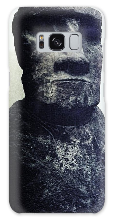 Easter Island Galaxy Case featuring the painting Easter Island Stone Statue by Eric Schiabor