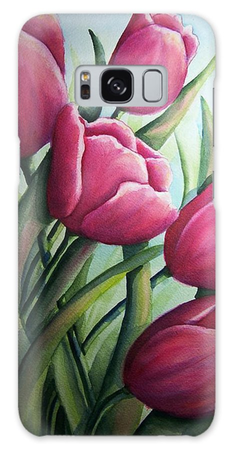 Easter Galaxy S8 Case featuring the painting Easter Tulips by Conni Reinecke