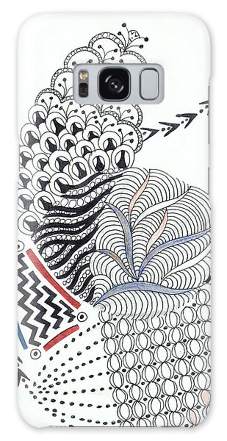 Zentangle Galaxy S8 Case featuring the drawing Edged In Blue by Bev Donohoe
