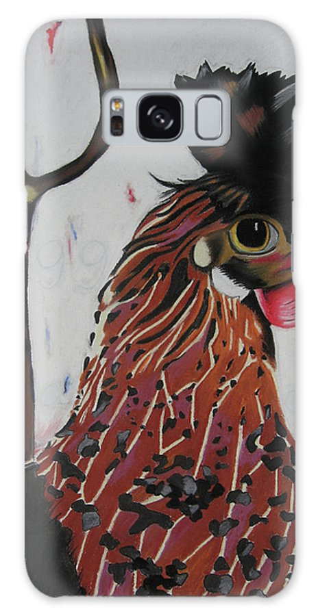 Rooster Painting Galaxy S8 Case featuring the pastel Egg Zactly by Michelle Hayden-Marsan