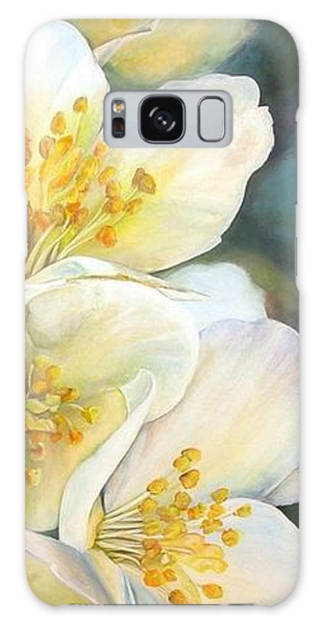 Floral Painting Galaxy Case featuring the painting Eglantine by Muriel Dolemieux