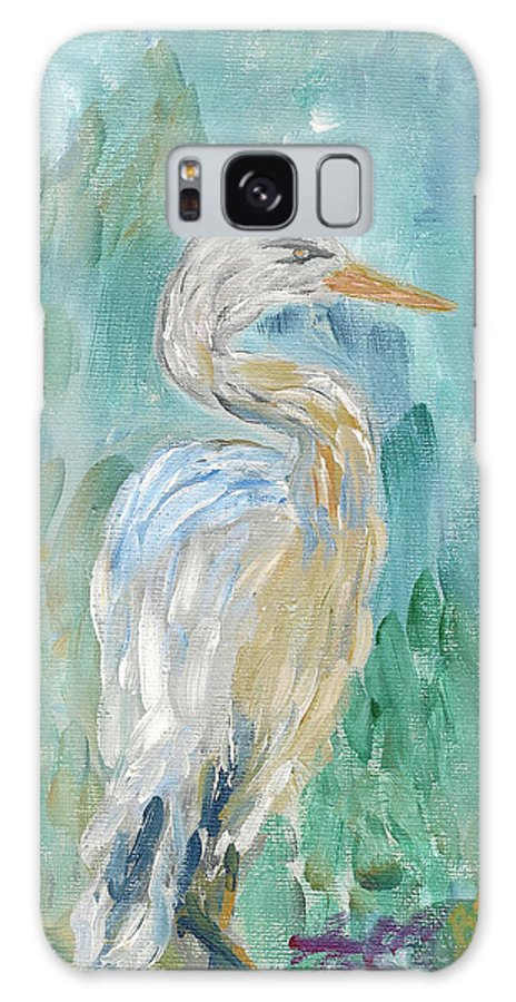 Bird Galaxy S8 Case featuring the painting Egret by Bev Veals