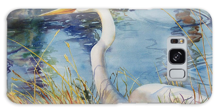 Egret Galaxy Case featuring the painting Egret In Cameron Marsh by Sue Zimmermann