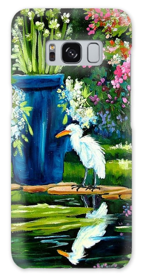 Florida Edison Estate Egret Tropical Pool Water Flowers Vase Lily Pads Animals Vases Blue Prints Birds Wading Birds Egrets Flowers Pink Blue Lavendar Water Pool Galaxy S8 Case featuring the painting Egret Visits Goldfish Pond by Carol Allen Anfinsen