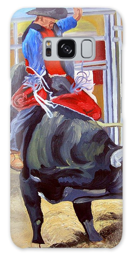 Bull Riding Galaxy S8 Case featuring the painting Eight Long Seconds by Michael Lee