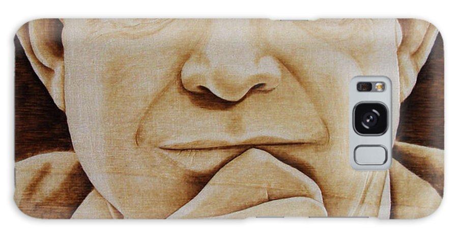 Pyrography; Portrait;; President; Sepia; Human; Eyes; Ears; Eisenhower; Woodburning; Jo Schwartz Galaxy Case featuring the pyrography Eisenhower - The Man by Jo Schwartz