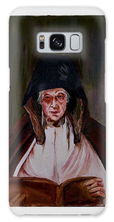 Old Lady Galaxy S8 Case featuring the painting Elderly Lady Reading A Book by Asha Sudhaker Shenoy