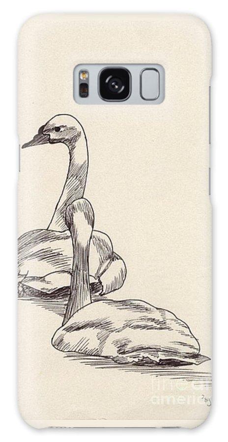 Swans Galaxy S8 Case featuring the drawing Elegance by Annemeet Hasidi- van der Leij