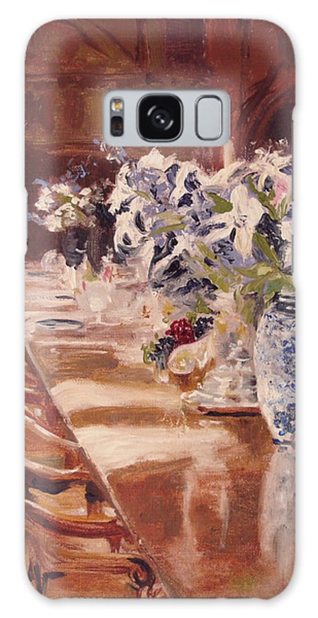 Vases Galaxy Case featuring the painting Elegant Dining At Hearst Castle by Barbara Andolsek