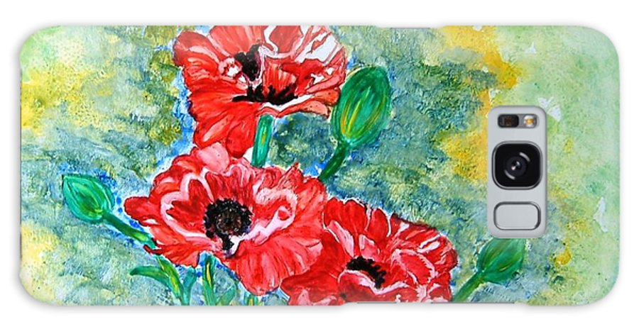 Poppies Flowers Red Yellow Green Blue Acrylic Watercolor Yupo Elegant Landscape Galaxy S8 Case featuring the painting Elegant Poppies by Manjiri Kanvinde