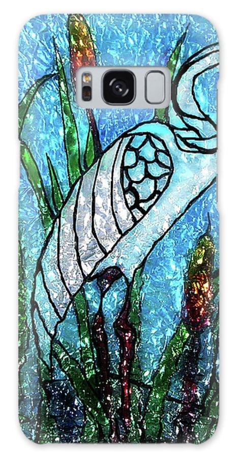 Glass Paint Galaxy S8 Case featuring the glass art Elegant White Heron by Farah Faizal