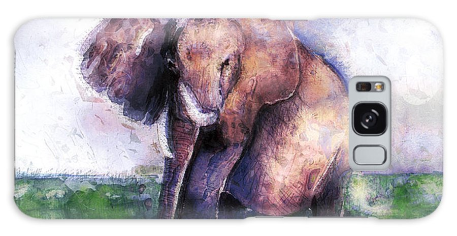 Elephant Galaxy S8 Case featuring the digital art Elephant Poised by Arline Wagner