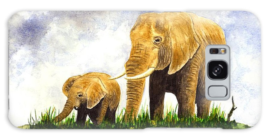 Elephant Galaxy S8 Case featuring the painting Elephants - Mother And Baby by Michael Vigliotti