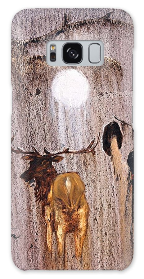 Native Art Galaxy S8 Case featuring the painting Elk Spirit by Patrick Trotter