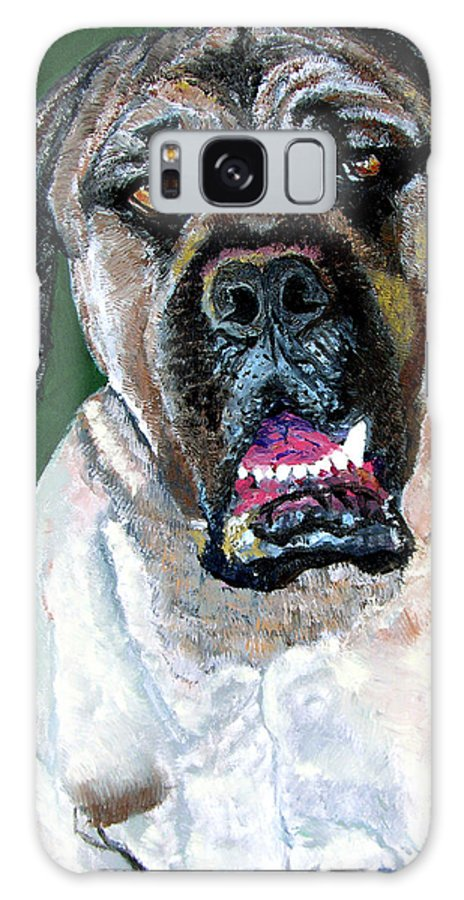 Dog Portrait Galaxy Case featuring the painting Ely by Stan Hamilton