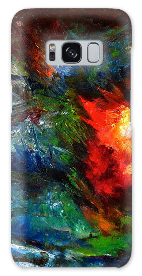 Abstract Galaxy Case featuring the painting Embrace by Lou Ewers