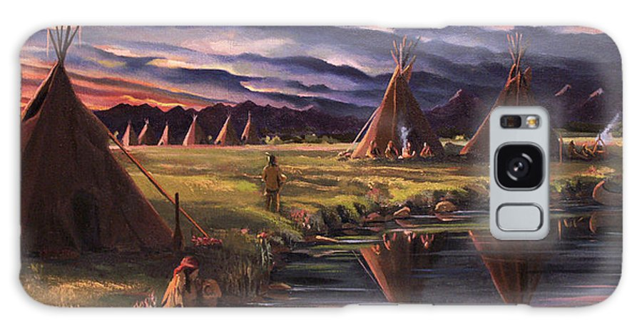 Native American Galaxy S8 Case featuring the painting Encampment At Dusk by Nancy Griswold
