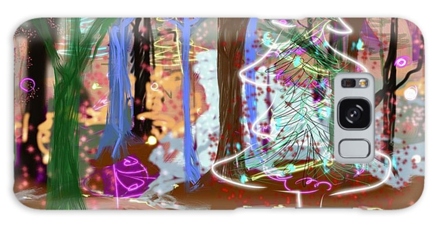 #holiday Scene #christmas Tree #enchanted Forest #digital Painting Galaxy S8 Case featuring the digital art Enchanted Christmas Forest by Mary Jane Mulholland