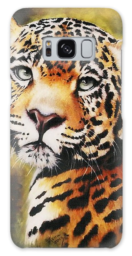 Jaguar Galaxy S8 Case featuring the pastel Enchantress by Barbara Keith