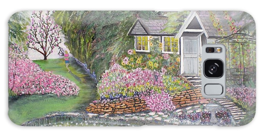 Cottage Galaxy Case featuring the painting English Cottage by Hal Newhouser