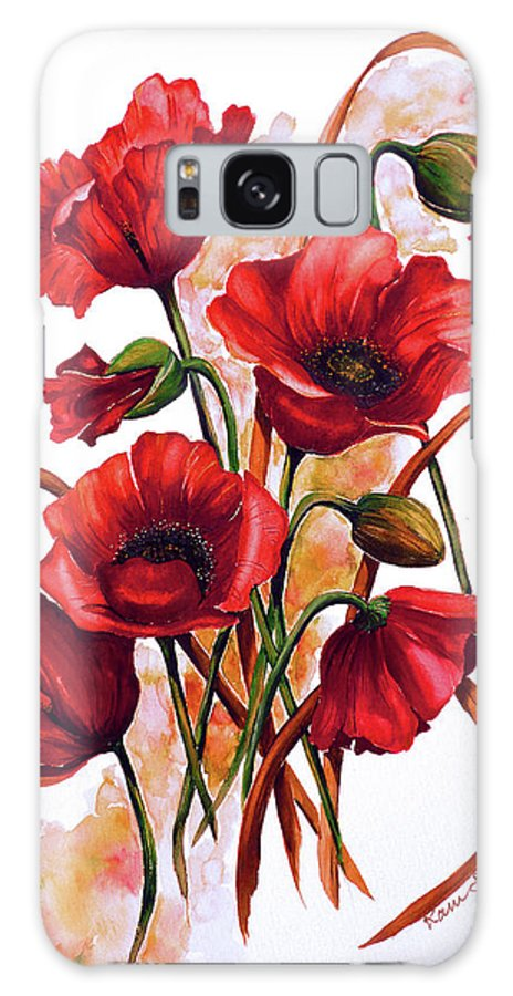 Red Poppies Paintings Floral Paintings Botanical Paintings Flower Paintings Poppy Paintings Field Poppy Painting Greeting Card Paintings Poster Print Painting Canvas Print Painting  Galaxy Case featuring the painting English Poppies 2 by Karin Dawn Kelshall- Best