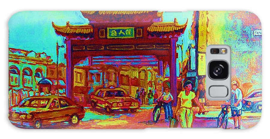Montreal Galaxy S8 Case featuring the painting Entrance To Chinatown by Carole Spandau