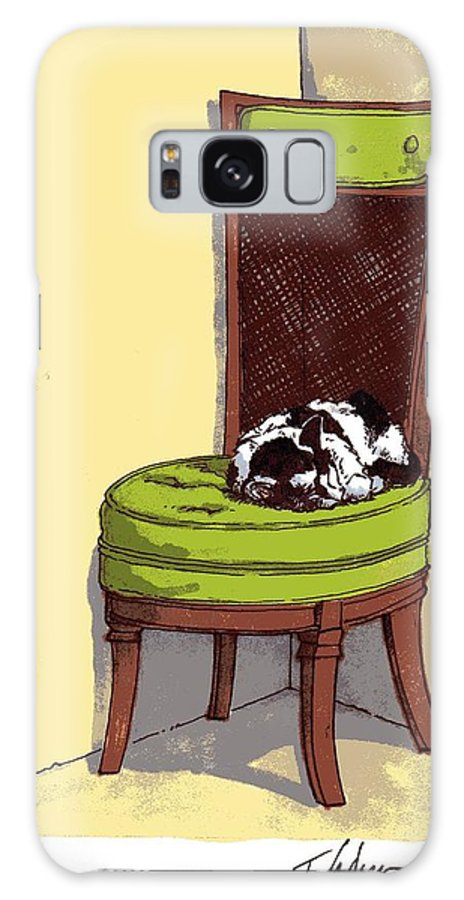 Cat Galaxy S8 Case featuring the drawing Ernie And Green Chair by Tobey Anderson