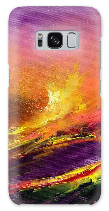Lava Galaxy S8 Case featuring the painting Eruption By Night by Sally Seago