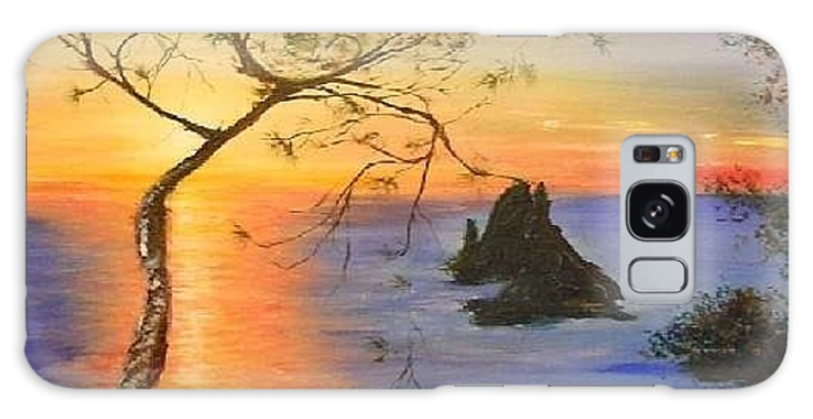 Sunset Galaxy S8 Case featuring the painting Es Vedra Island Off Ibiza South Coast by Lizzy Forrester