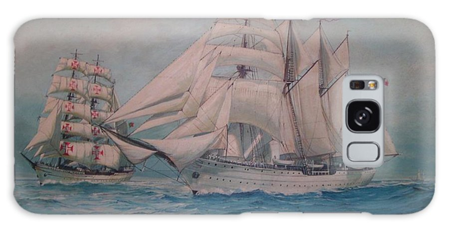 Sea Scape Galaxy Case featuring the painting Esmerelda And The Sagres Tall Ships by Perrys Fine Art