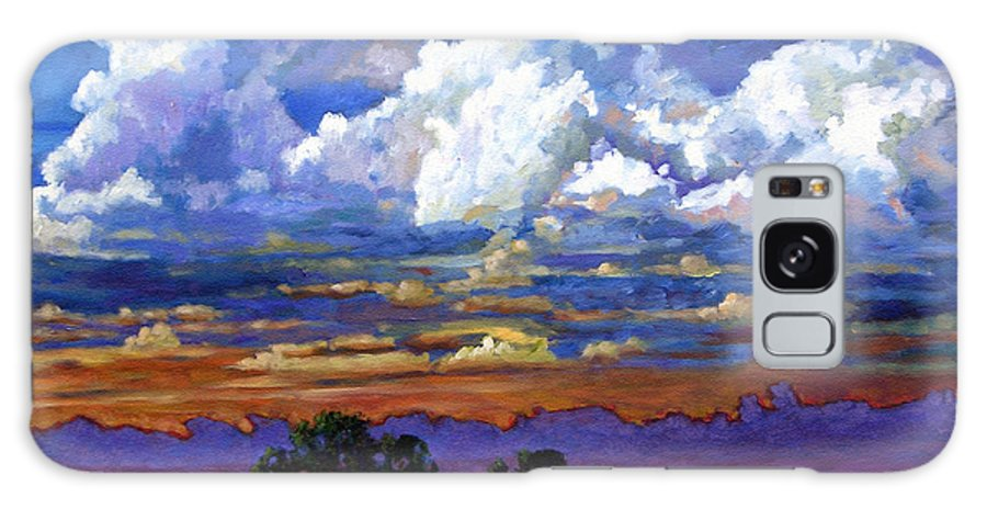 Landscape Galaxy S8 Case featuring the painting Evening Clouds Over The Prairie by John Lautermilch