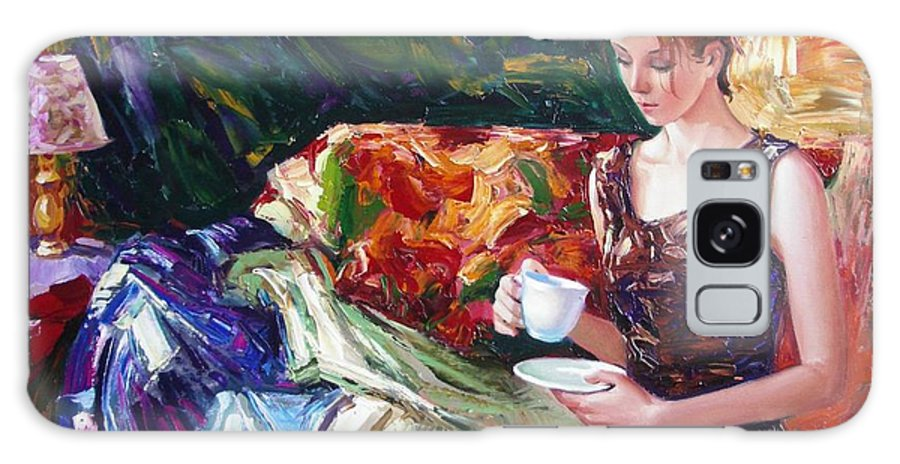 Figurative Galaxy S8 Case featuring the painting Evening coffee by Sergey Ignatenko