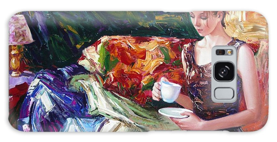 Figurative Galaxy Case featuring the painting Evening Coffee by Sergey Ignatenko