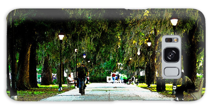 Savannah Georgia Galaxy S8 Case featuring the painting Evening In The Park by David Lee Thompson