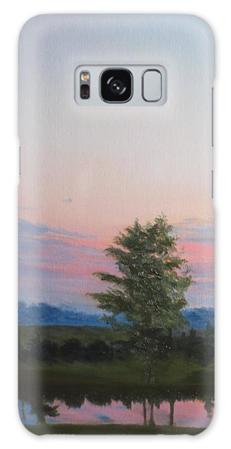Landscape Galaxy Case featuring the painting Evening Sky by Lea Novak