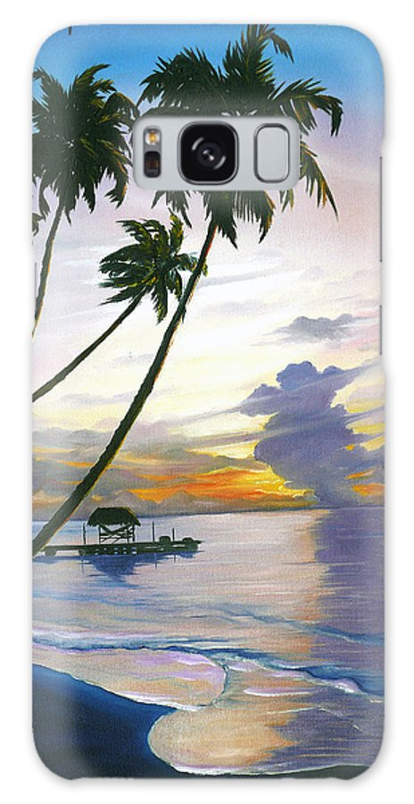 Ocean Painting Seascape Painting Beach Painting Sunset Painting Tropical Painting Tropical Painting Palm Tree Painting Tobago Painting Caribbean Painting Original Oil Of The Sun Setting Over Pigeon Point Tobago Galaxy S8 Case featuring the painting Eventide Tobago by Karin Dawn Kelshall- Best