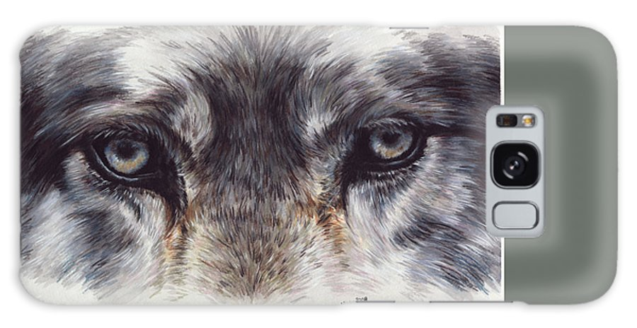 Wolf Galaxy Case featuring the painting Eye-catching Wolf by Barbara Keith