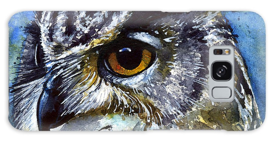 Owls Galaxy S8 Case featuring the painting Eyes Of Owls No.25 by John D Benson