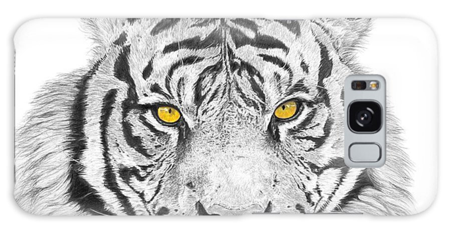 Tiger Galaxy Case featuring the drawing Eyes Of The Tiger by Shawn Stallings