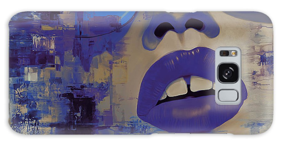 Animal Portrait Galaxy S8 Case featuring the painting Face If Blue Abstract by Gull G