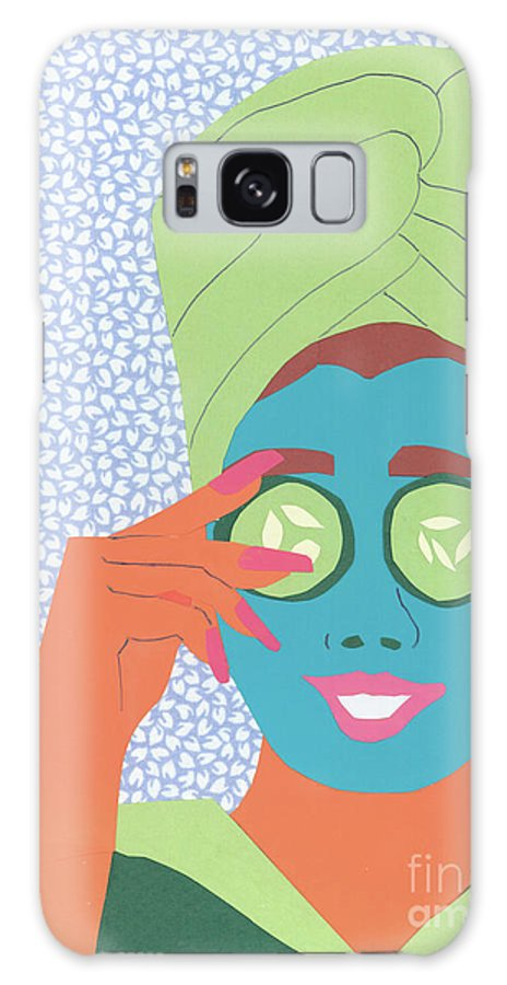 Face Galaxy S8 Case featuring the mixed media Facial Masque by Debra Bretton Robinson