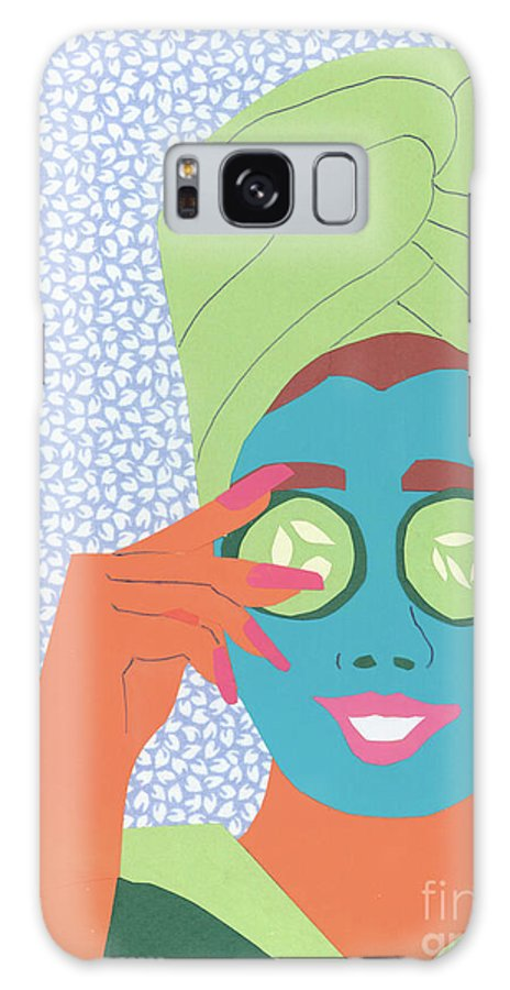 Face Galaxy S8 Case featuring the mixed media Facial Masque by Debra Bretton Robinson