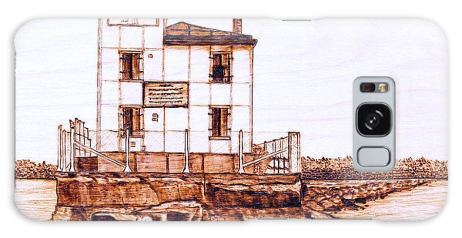 Lighthouse Galaxy Case featuring the pyrography Fair Port Harbor by Danette Smith