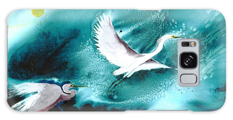A Pair Of Egrets By The Water At Night- A Watercolor Painting Galaxy Case featuring the painting Fairies by Mui-Joo Wee