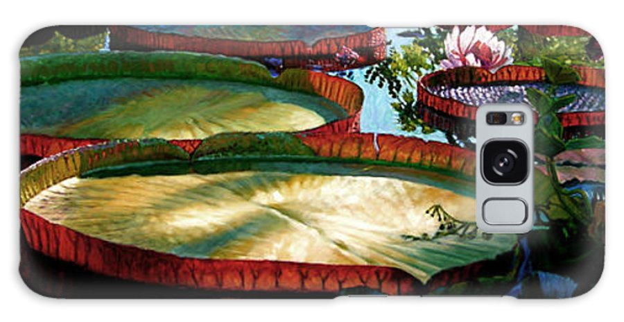 Landscape Galaxy Case featuring the painting Fall Colors In The Morning Sun by John Lautermilch
