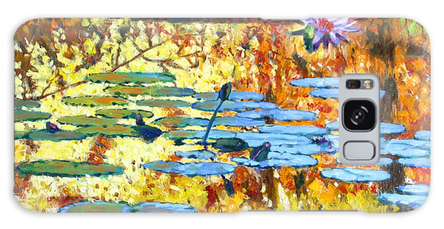Fall Galaxy Case featuring the painting Fall Colors On The Lily Pond by John Lautermilch