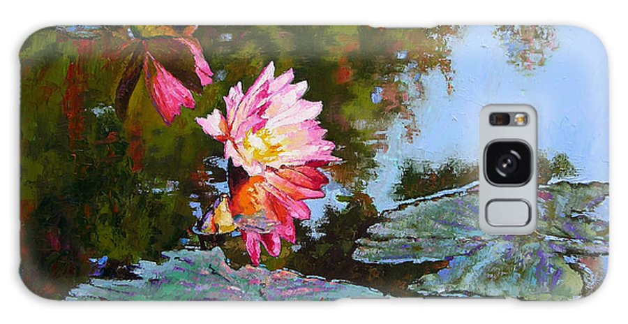 Water Lily Galaxy Case featuring the painting Fall Glow by John Lautermilch