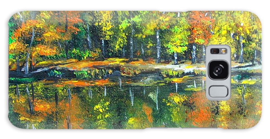 Fall Galaxy S8 Case featuring the painting Fall Landscape Acrylic Painting Framed by Natalja Picugina