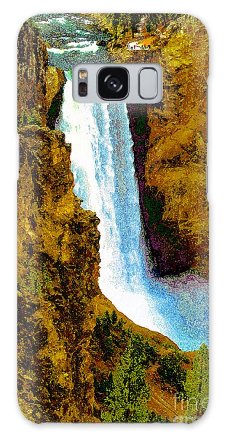 Yellowstone National Park Galaxy S8 Case featuring the painting Falls Of The Yellowstone by David Lee Thompson