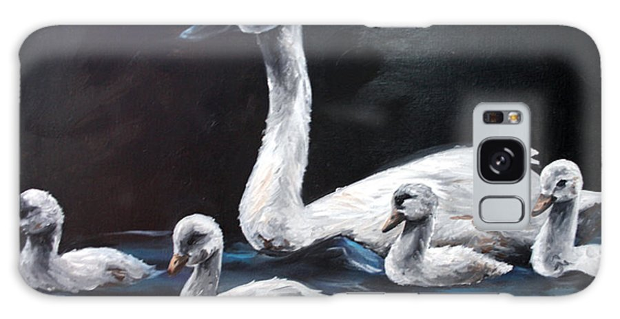 Swan Galaxy Case featuring the painting Family Of Swans by Maryn Crawford